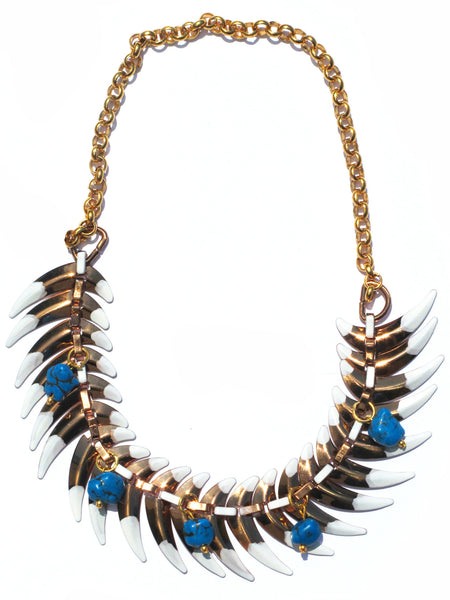 Turquoise Brass White Tipped Claw Short Necklace