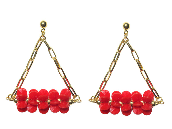 Red Resin Blossom Brass Triangle Earrings
