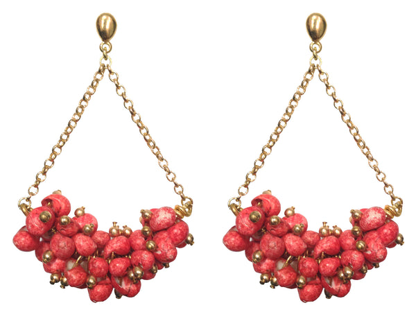 Red Coral Stone Brass Drop Earrings