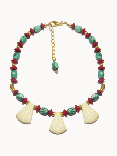 Red Turquoise Bead Mediterranean Necklace
