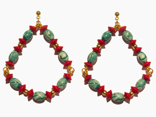 Red Turquoise Bead Triangle Drop Earrings