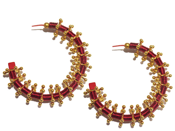 Gold Metal Red Thread Spike Earrings