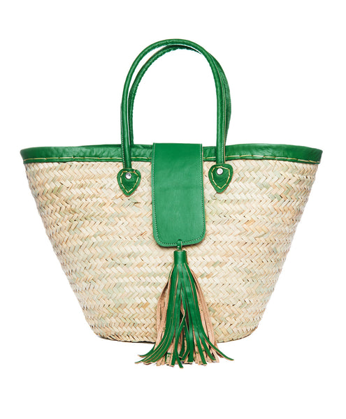 Natural Raffia Green Trim Tassel Tote Bag