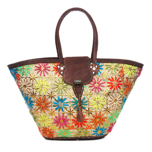Multi Floral Embroidered Raffia Overlap Tote