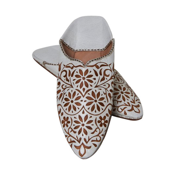 White & Gold Leather Babouche Slippers