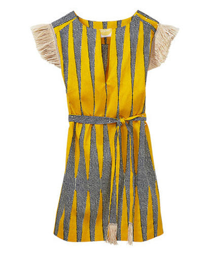 Yellow Raffia Trim Cotton Coco Weekender Dress