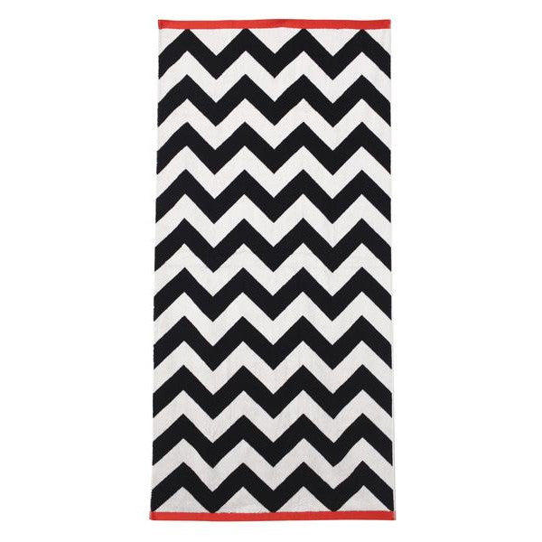 Black And White Cotton Cuda Zig Zag Beach Towel
