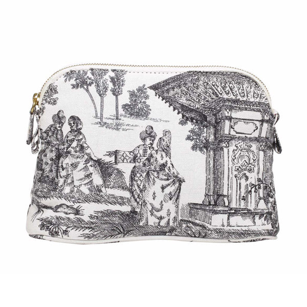 HAREMLIQUE, White And Black Haremlique Small Toile Makeup Bag