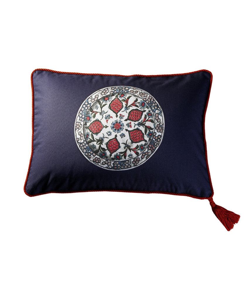 Navy Cotton Iznik Hashas  Medallion Cushion Cover