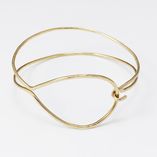 Gold Hammered Hook Bangle