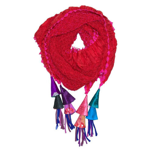 Red And Fuchsia  Silk Embroidered Scarf