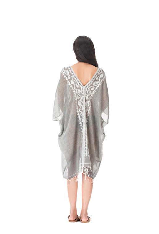 Gray & White Roxy Beera Cotton Caftan