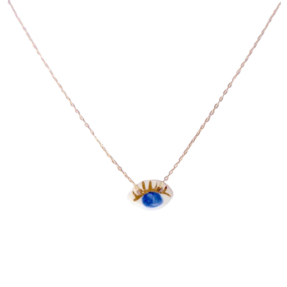 Blue Porcelain Eye Necklace