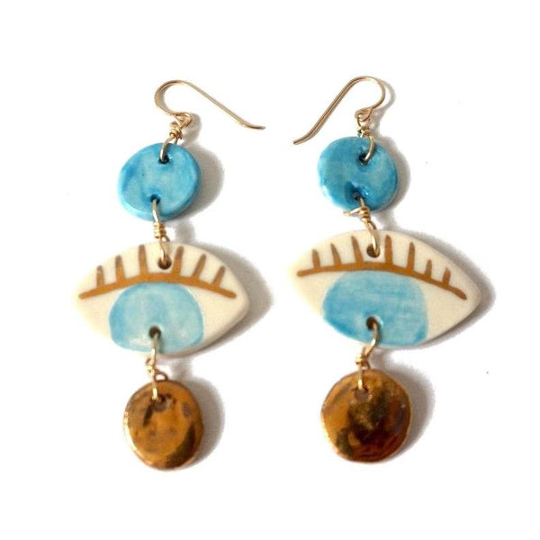 Turquoise & Gold Porcelain Dots + Eyes Earrings