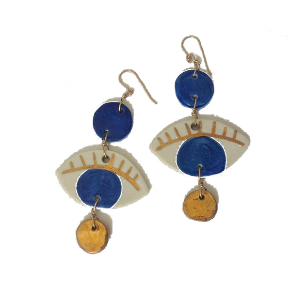 Blue & Gold Porcelain Dots + Eyes Earrings
