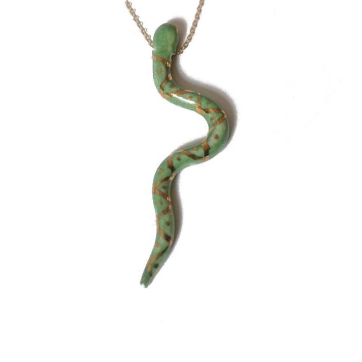 Large Green Porcelain Green Snake Pendant Necklace