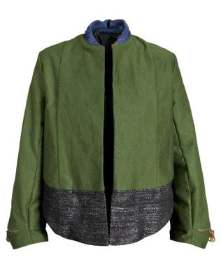 Hunter Green Cotton Poly Embroidered Grey Bottom Jacket