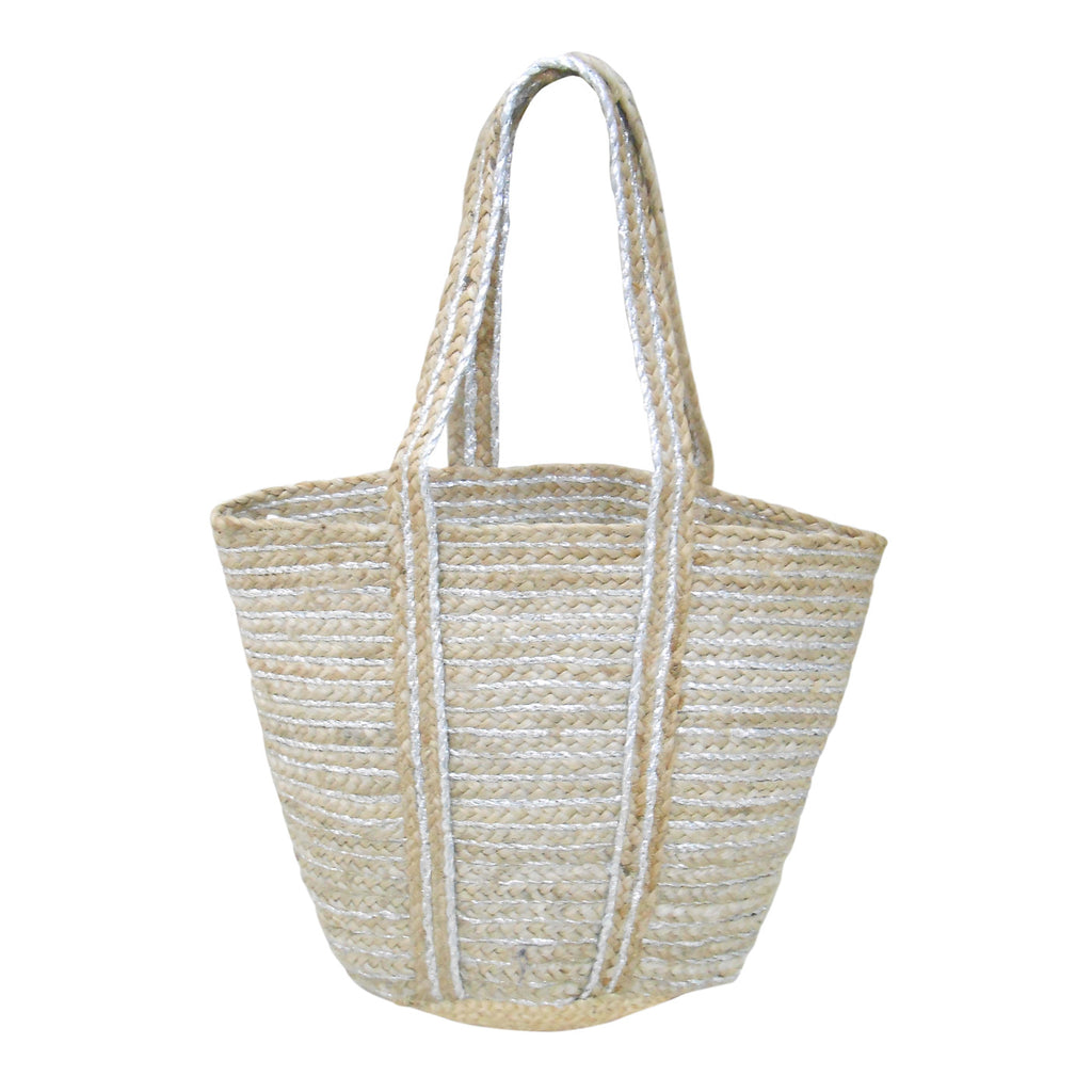 Metallic Stripes Jute Bag