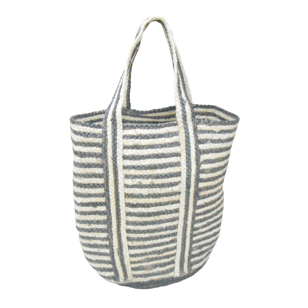 Natural and Charcoal Stripes Jute Bag