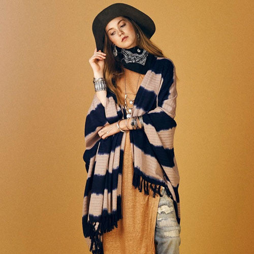 Beige and Navy Bakit Poncho