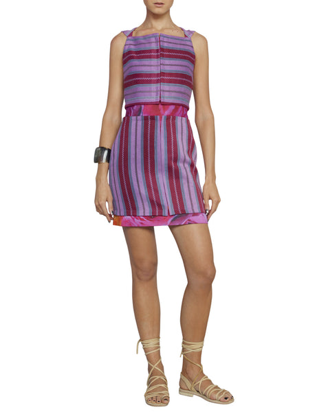 Lavender Multi Stripe Cotton Sleevless Cutout Dress