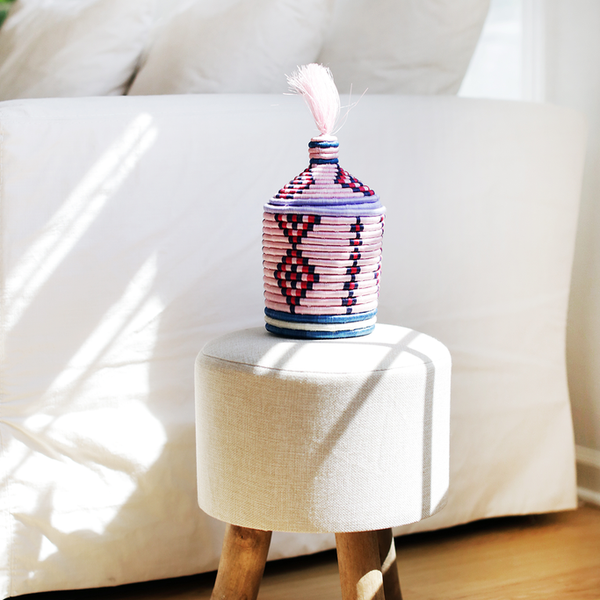 INDEGO AFRICA, Lidded Tassel Top Basket