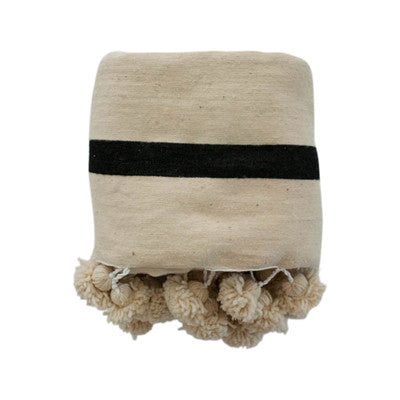 Single Stripe Pom Pom Throw