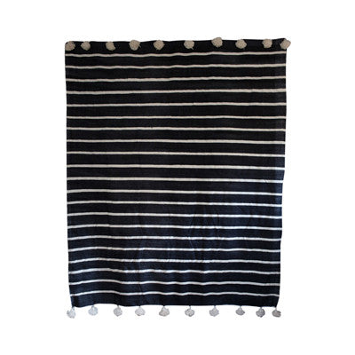 Striped Black Pom Pom Blanket