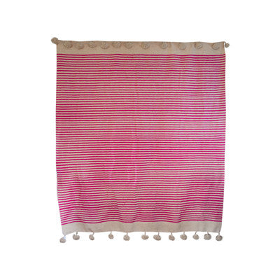 Striped Pink Pom Pom Blanket