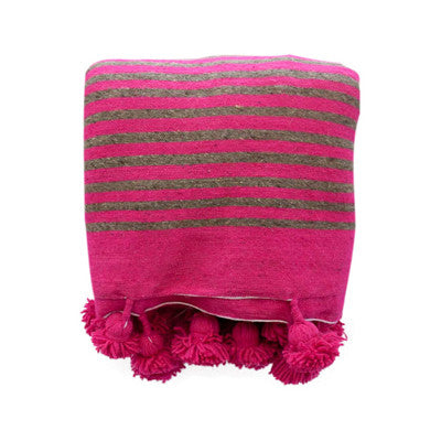 Striped Pom Pom Throw