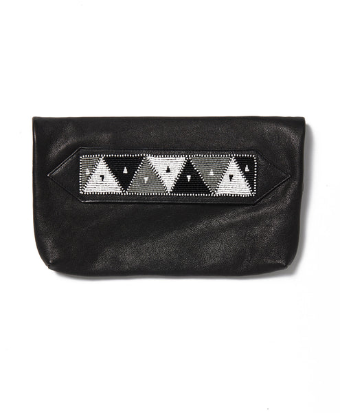 Black Waxed Cow Triangle Tassel Clutch