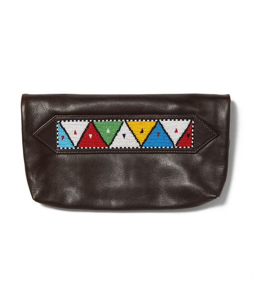 Dark Brown Waxed Cow Triangle Tassel Clutch