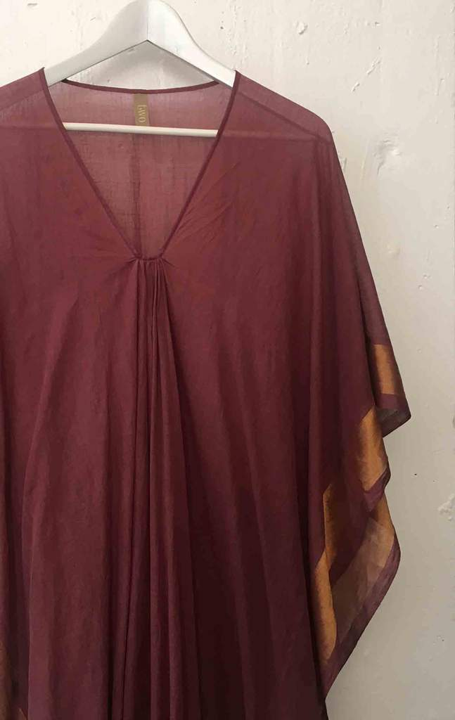 Mauve & Gold Cotton Caftan