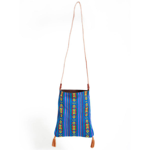Medium Blue Stripe Mexican Shoulder Tassel Bag