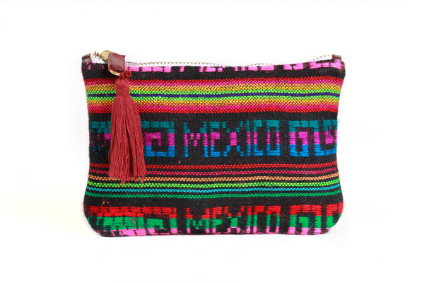 Black Multi Wool Mexican Pouch