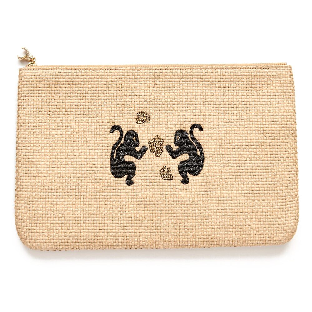 Natural Raffia Monkey Clutch