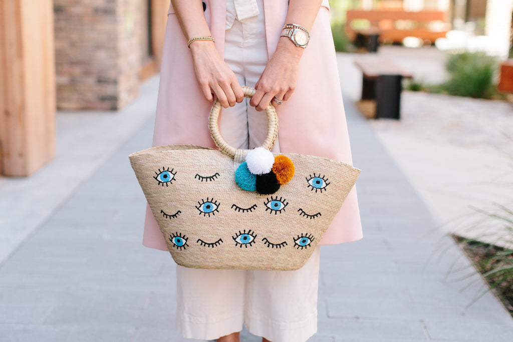 Natural Palm Eye Xica Beach Bag