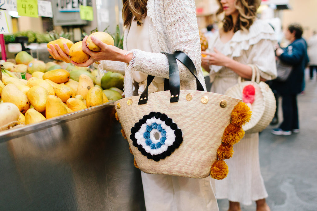 Natural Palm Evil Eye Xica Beach Bag