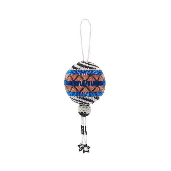 SHOP LATITUDE BAZAAR, MEXICO, Blue Multi Beaded Mexican Ornament
