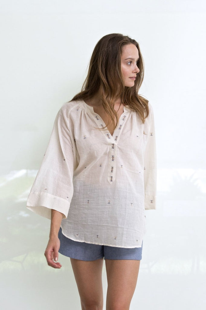 White Cotton Palm Springs Jamdani Top