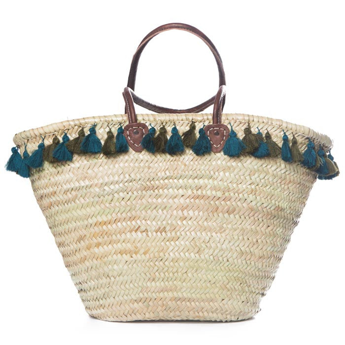 Green and Blue Tassel Traditional Raffia Bag