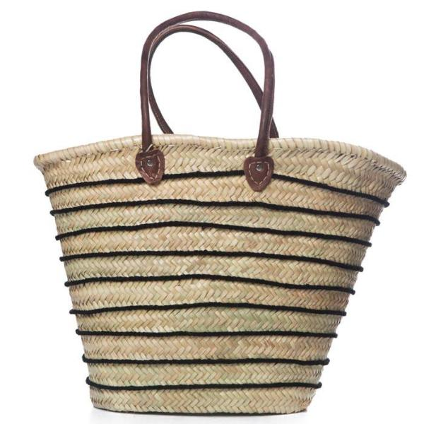 Black Horizontal Striped Traditional Raffia Bag