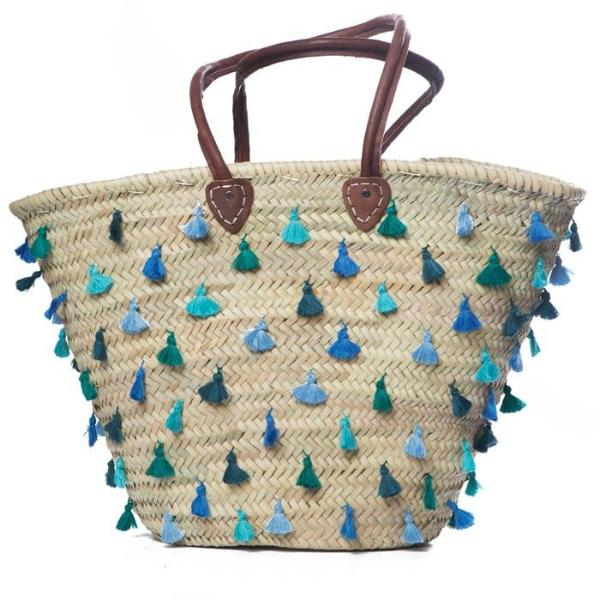 Blue All Over Tassel Raffia Bag