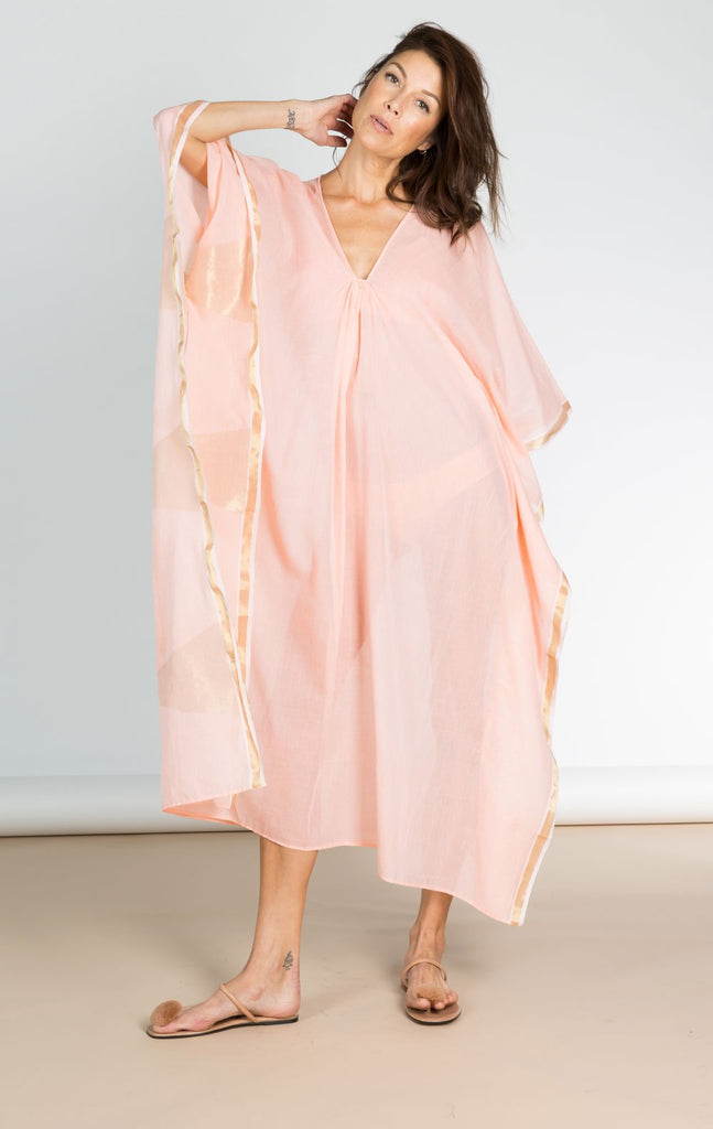 Peach & Metallic Temple Linen Caftan