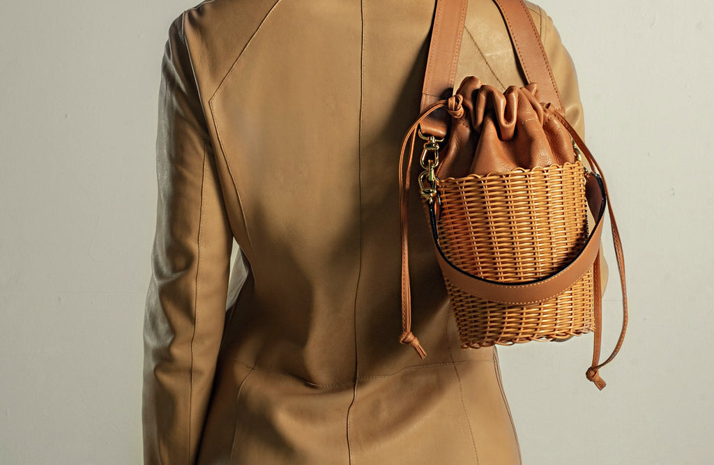 Tan Woven Leather Bucket Bag