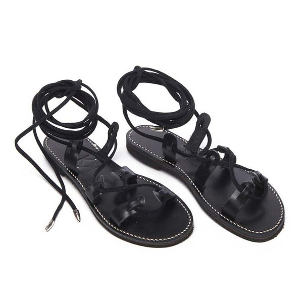 Black Leather Dree Night Long Tie Sandal