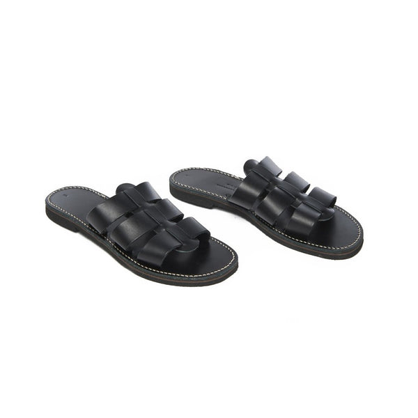 Black Leather Eros Slide Sandal