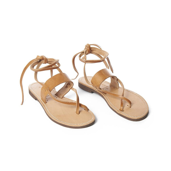 Tan Leather Esmeralda Toe Ankle Tie Sandal