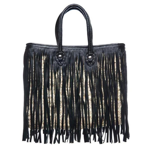 Black Leather Fringe Overlap Raffia Hippie Tote Bag