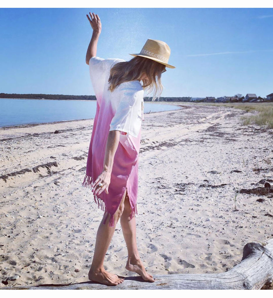 Handwoven Bamboo Pink Remi Caftan